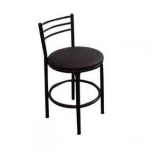Banqueta Baixa - Com Encosto Chapa - Fixa - Assento Tecido - Móveis Gontijo