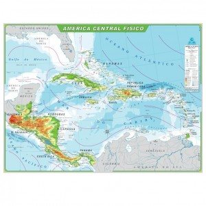 Mapa Telado - Continente - América Central - Físico - Geomapas