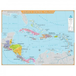 Mapa Telado - Continente - América Central - Político - Geomapas