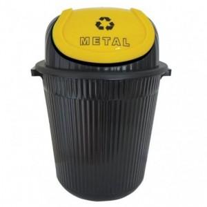 Cesto Lixo - Com Tampa - Plástico - 86 Litros - Antares - Amarelo