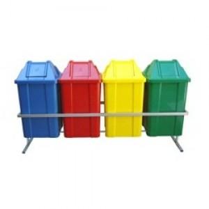 Cesto Lixo - Coleta Seletiva - Conjunto Com 04 - 100 Litros - Com Tampa - JSN