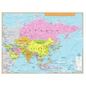 Mapa Telado - Continente - Ásia - Político - Geomapas