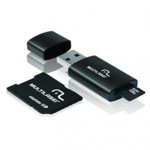 Cartão Memória - MicroSD + Adaptador SD + Adaptador USB - 08GB - Multilaser