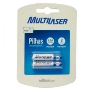 Pilha Recarregável - Palito (AAA) - Com 02 - Multilaser