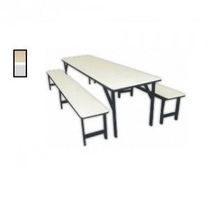 Conjunto Escolar - Adulto - Refeitório - 01 Mesa + 02 Bancos - MDF / Metalon - Móveis Gontijo