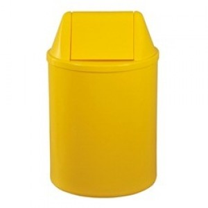 Cesto Lixo - Com Tampa - Plástico - 13 Litros - JSN - Amarelo