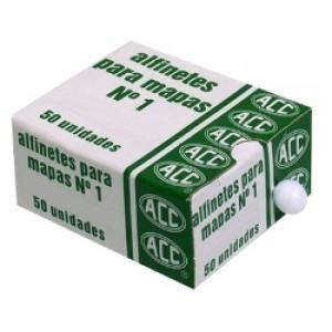 Alfinete Mapa - ACC - Branco - 50 Unidades