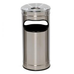 Cesto Lixo - Com Cinzeiro - Metal - Inox - JSN