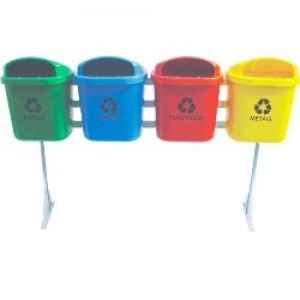 Cesto Lixo - Coleta Seletiva - Conjunto Com 04 - 040 Litros - Sem Tampa - JSN