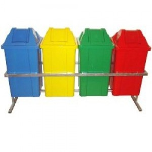 Cesto Lixo - Coleta Seletiva - Conjunto Com 04 - 060 Litros - Com Tampa - JSN