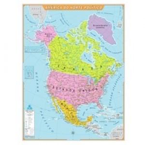 Mapa Telado - Continente - América Norte - Político - Geomapas
