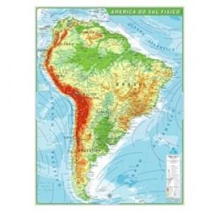Mapa Telado - Continente - América Sul - Físico - Geomapas