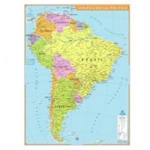 Mapa Telado - Continente - América Sul - Político - Geomapas