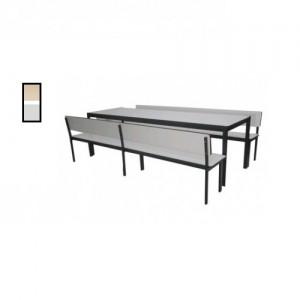 Conjunto Escolar - Adulto - Refeitório - 01 Mesa + 02 Bancos Com Encosto - MDF / Metalon - Móveis Gontijo